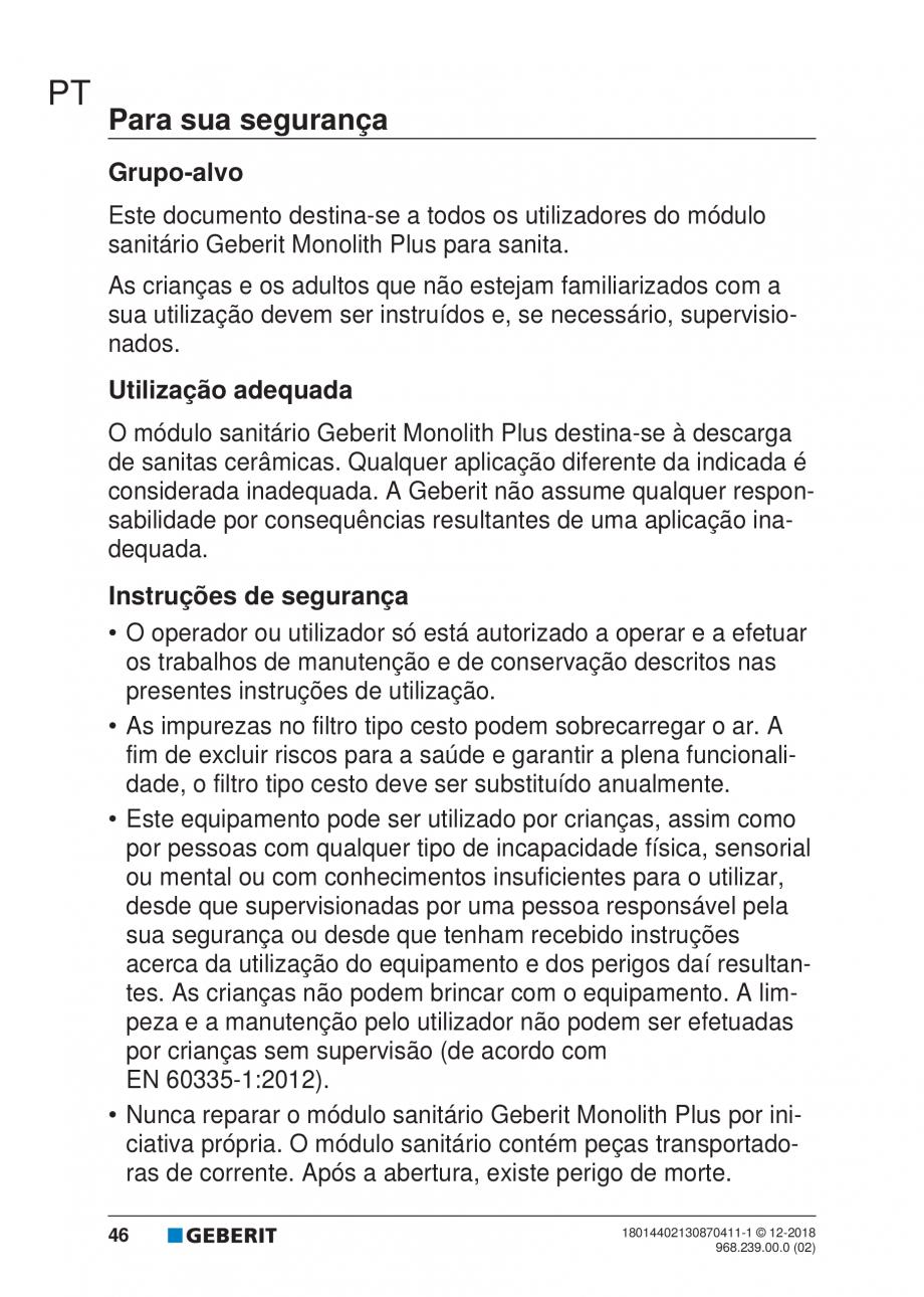 Pagina 42 - Manualul utilizatorului pentru modulul sanitar Monolith Plus GEBERIT Monolith...