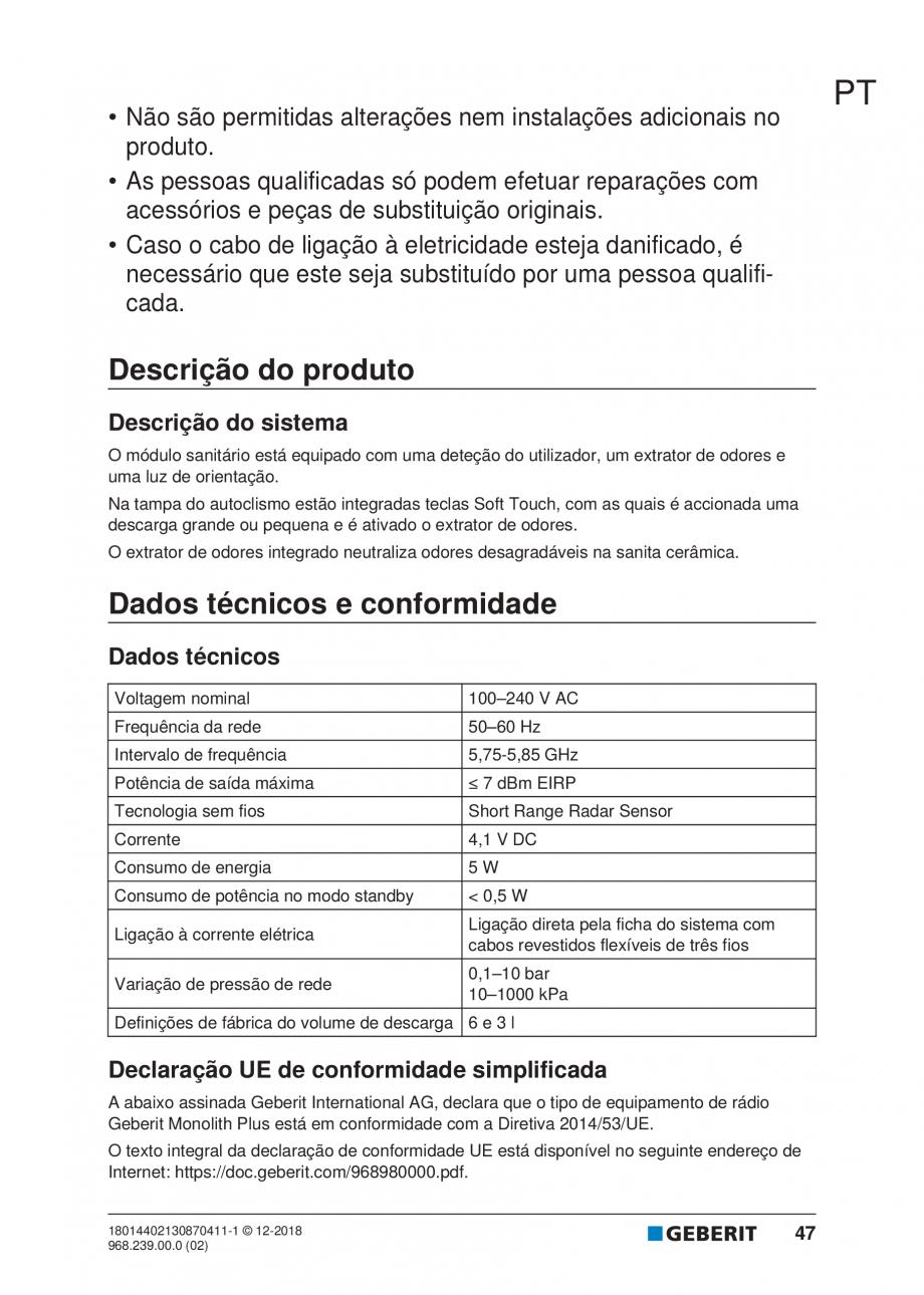 Pagina 43 - Manualul utilizatorului pentru modulul sanitar Monolith Plus GEBERIT Monolith...