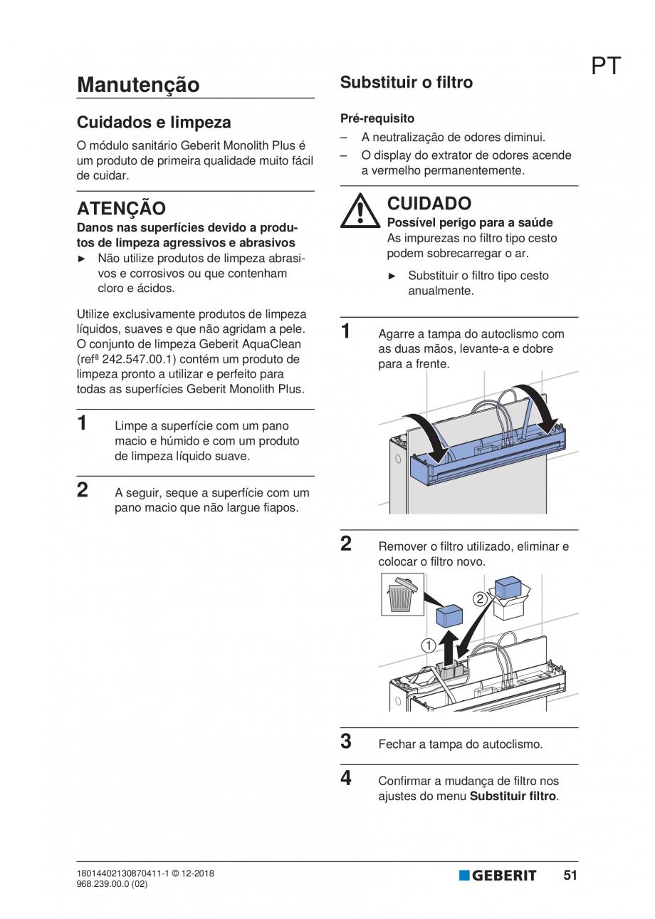 Pagina 47 - Manualul utilizatorului pentru modulul sanitar Monolith Plus GEBERIT Monolith...