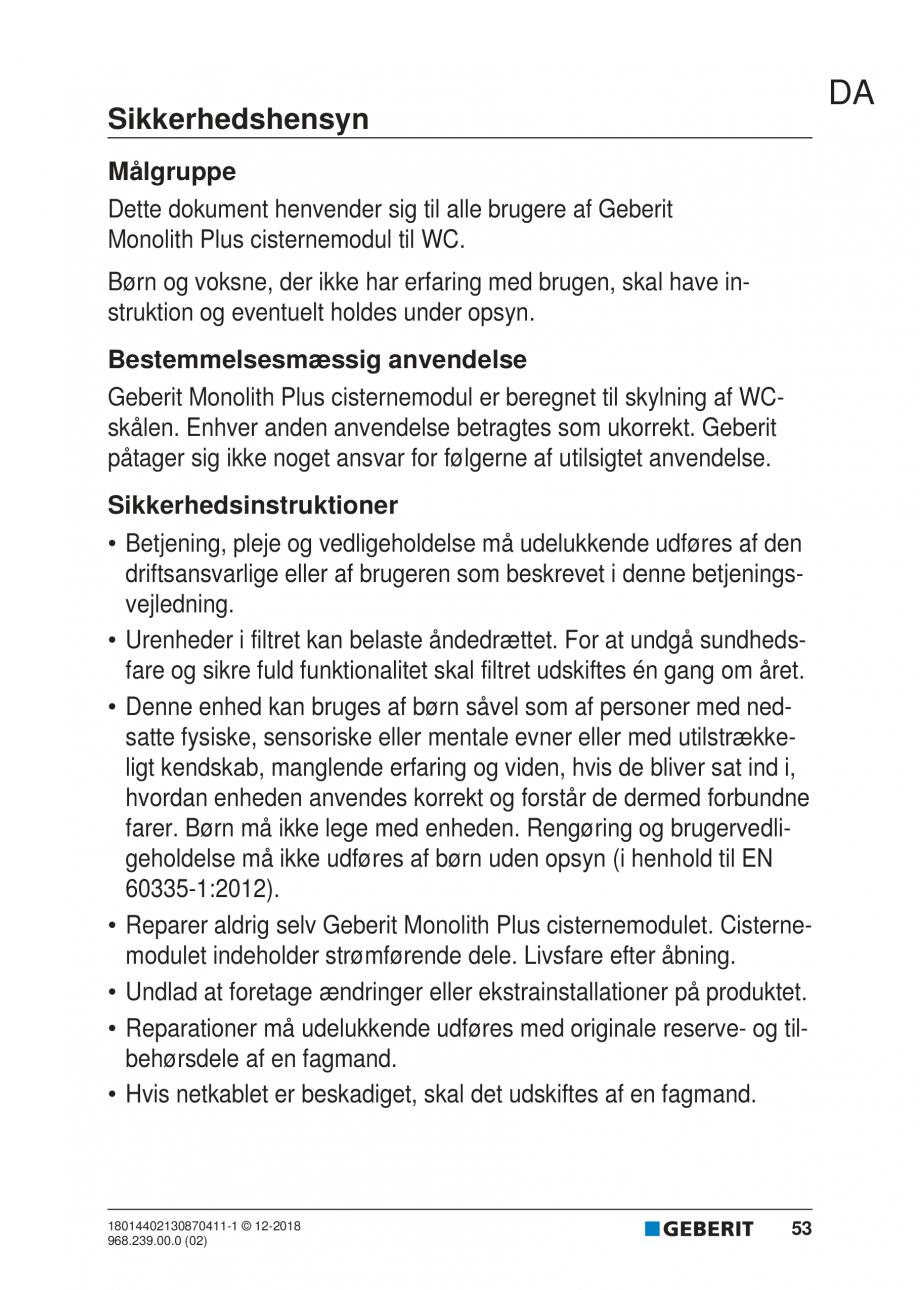 Pagina 49 - Manualul utilizatorului pentru modulul sanitar Monolith Plus GEBERIT Monolith...