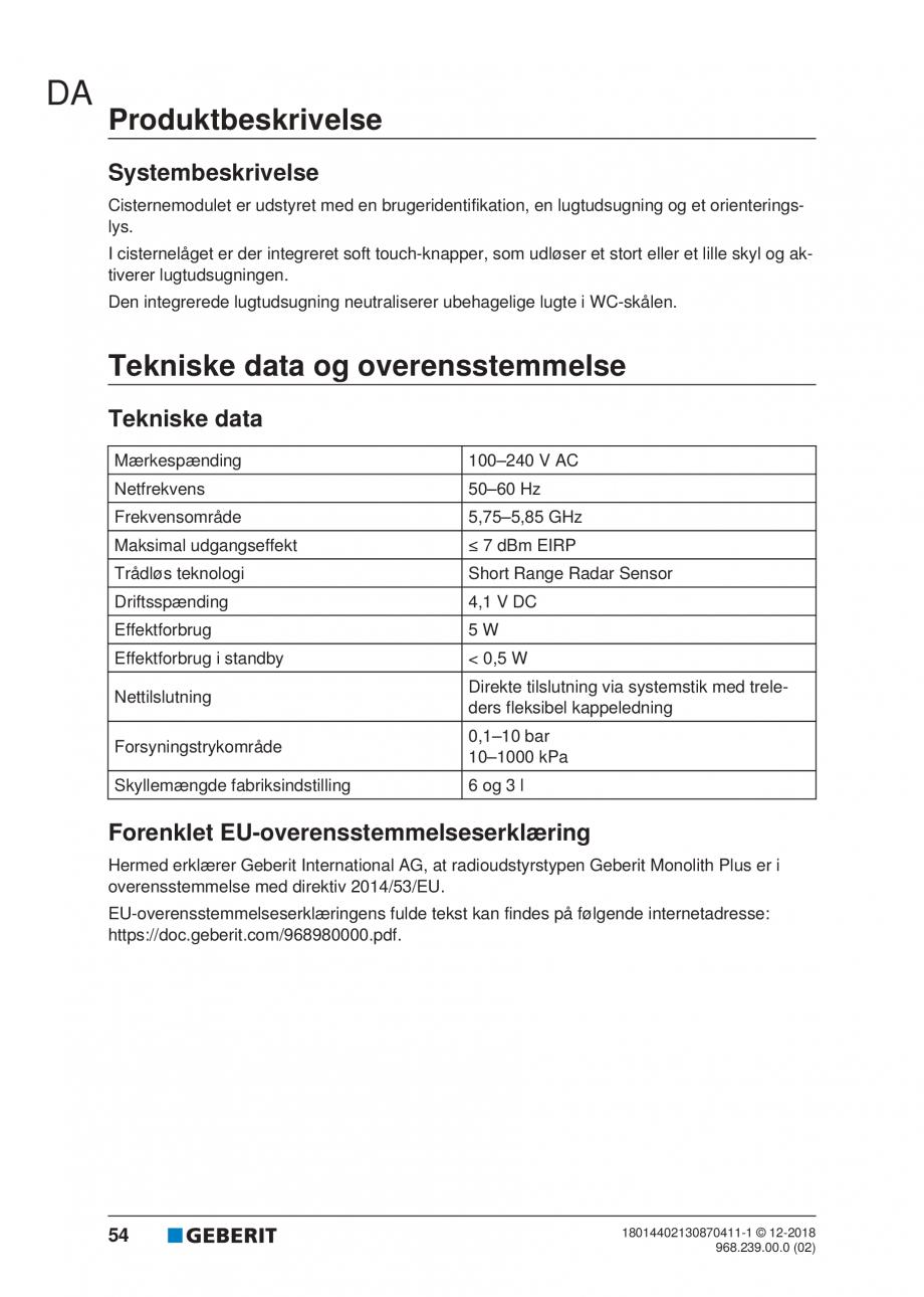 Pagina 50 - Manualul utilizatorului pentru modulul sanitar Monolith Plus GEBERIT Monolith...