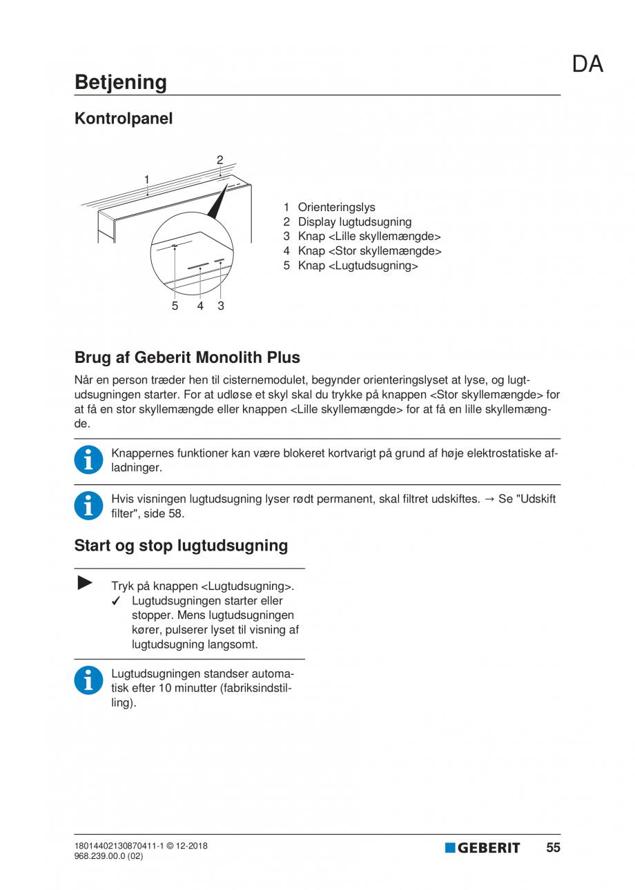 Pagina 51 - Manualul utilizatorului pentru modulul sanitar Monolith Plus GEBERIT Monolith...