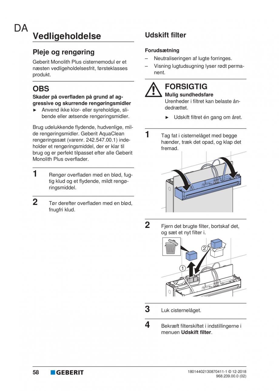 Pagina 54 - Manualul utilizatorului pentru modulul sanitar Monolith Plus GEBERIT Monolith...