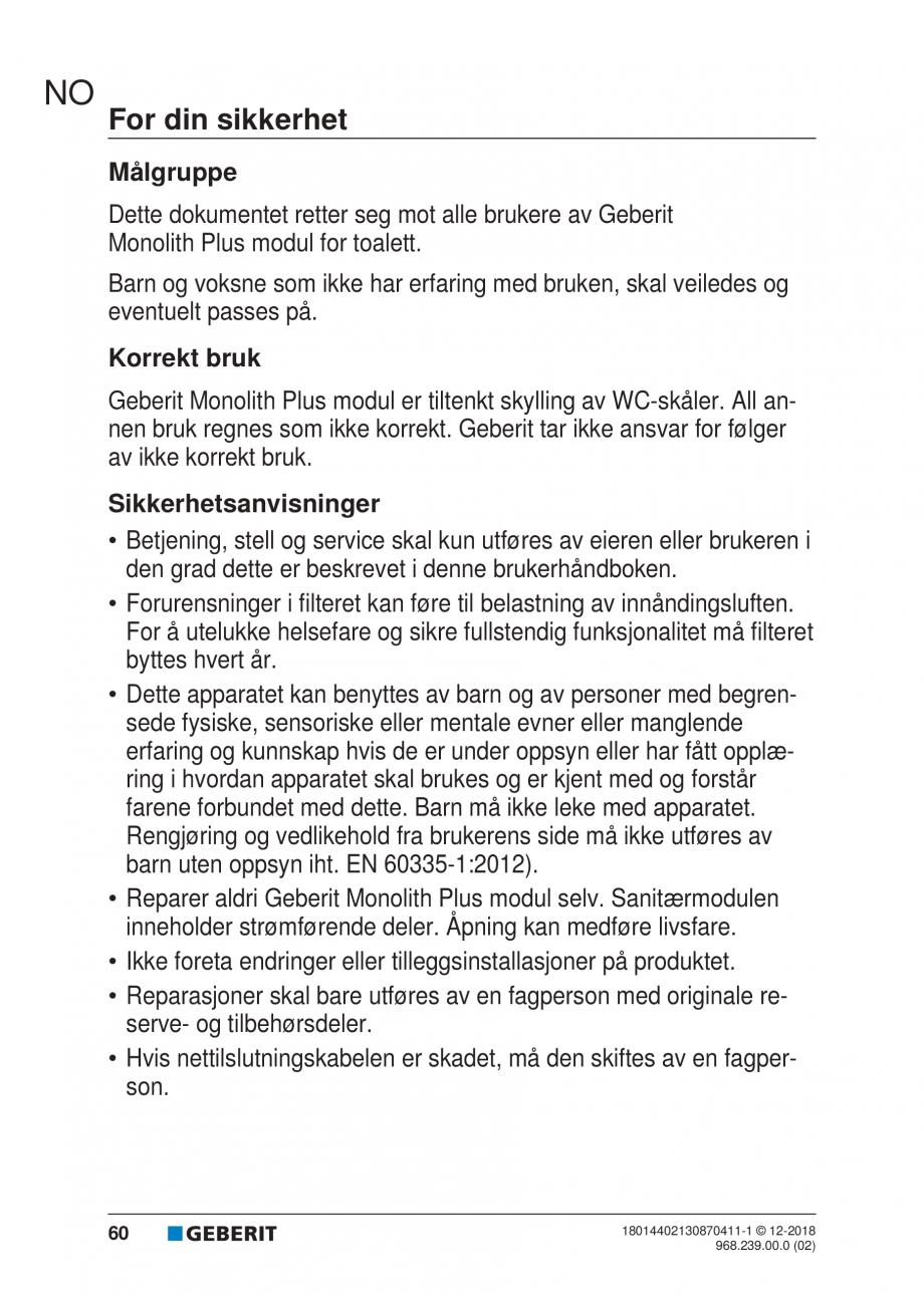 Pagina 56 - Manualul utilizatorului pentru modulul sanitar Monolith Plus GEBERIT Monolith...