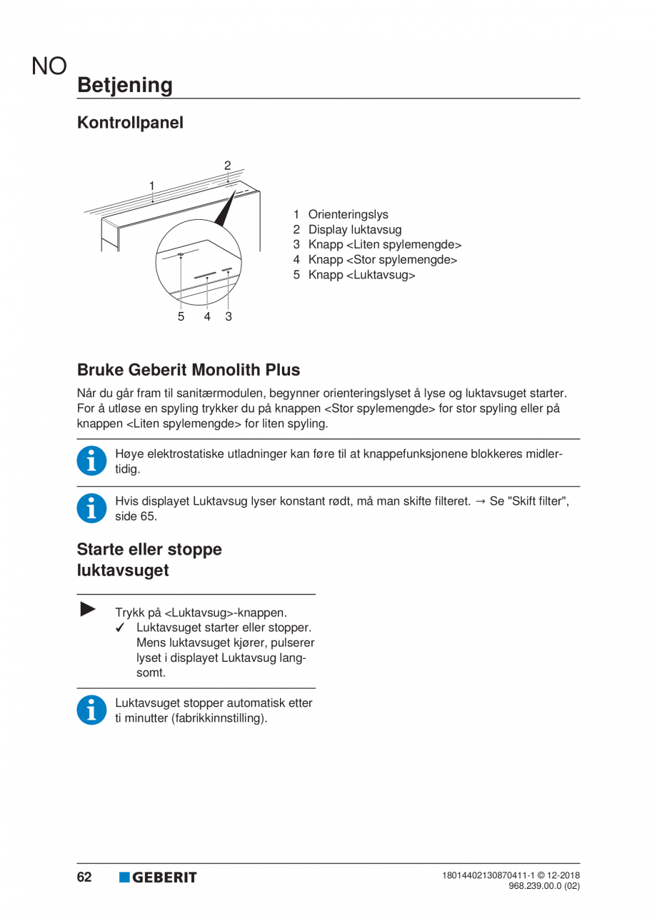 Pagina 58 - Manualul utilizatorului pentru modulul sanitar Monolith Plus GEBERIT Monolith...