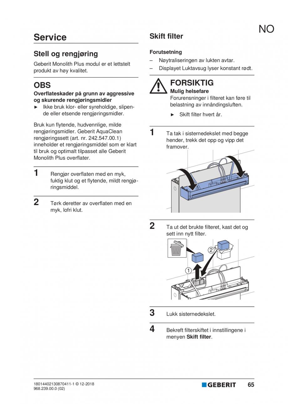 Pagina 61 - Manualul utilizatorului pentru modulul sanitar Monolith Plus GEBERIT Monolith...