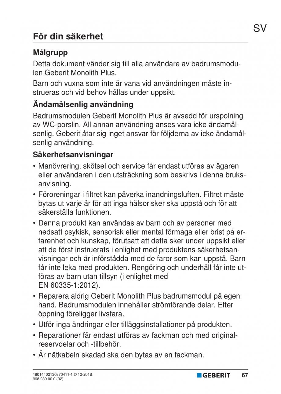 Pagina 63 - Manualul utilizatorului pentru modulul sanitar Monolith Plus GEBERIT Monolith...