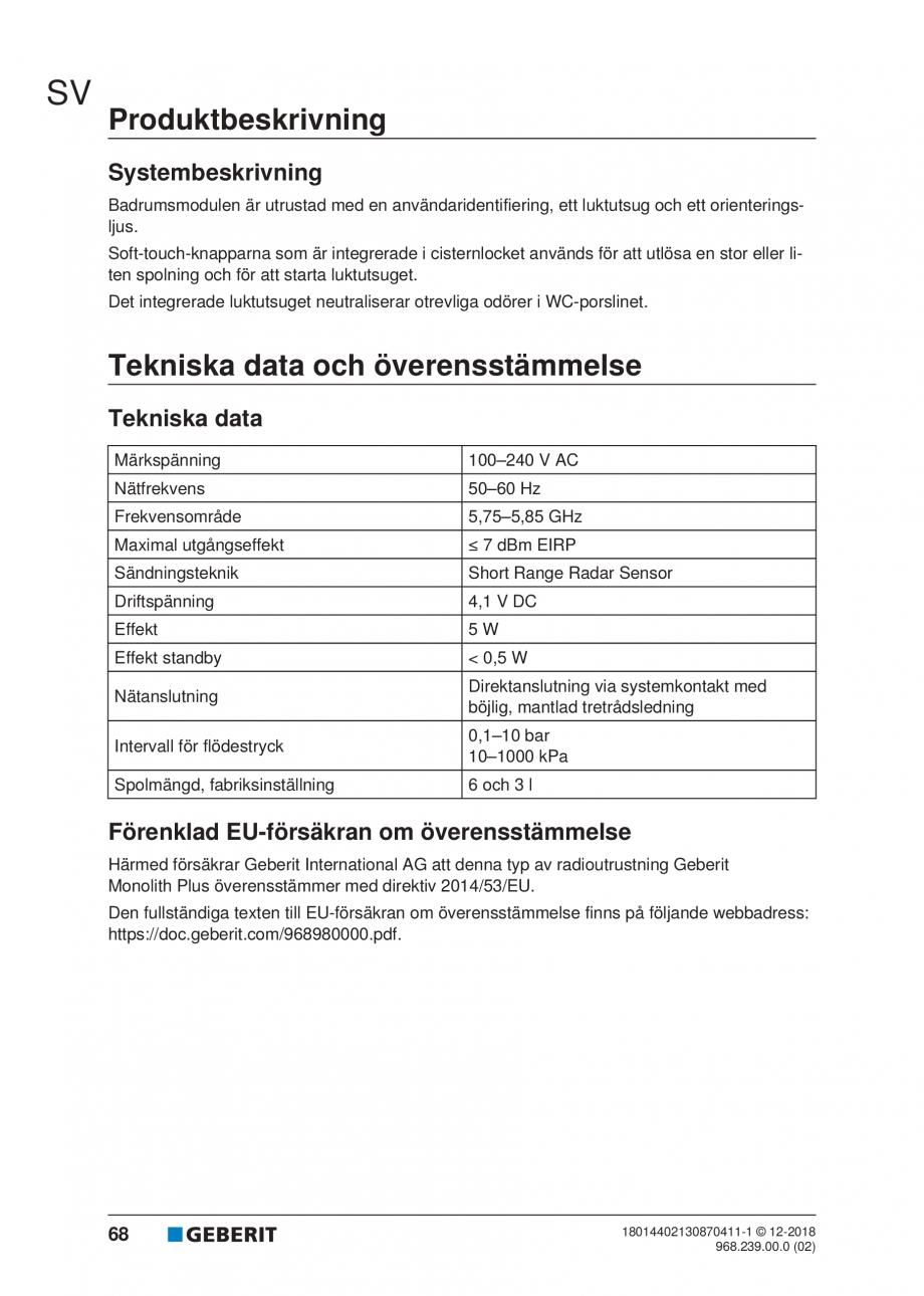 Pagina 64 - Manualul utilizatorului pentru modulul sanitar Monolith Plus GEBERIT Monolith...