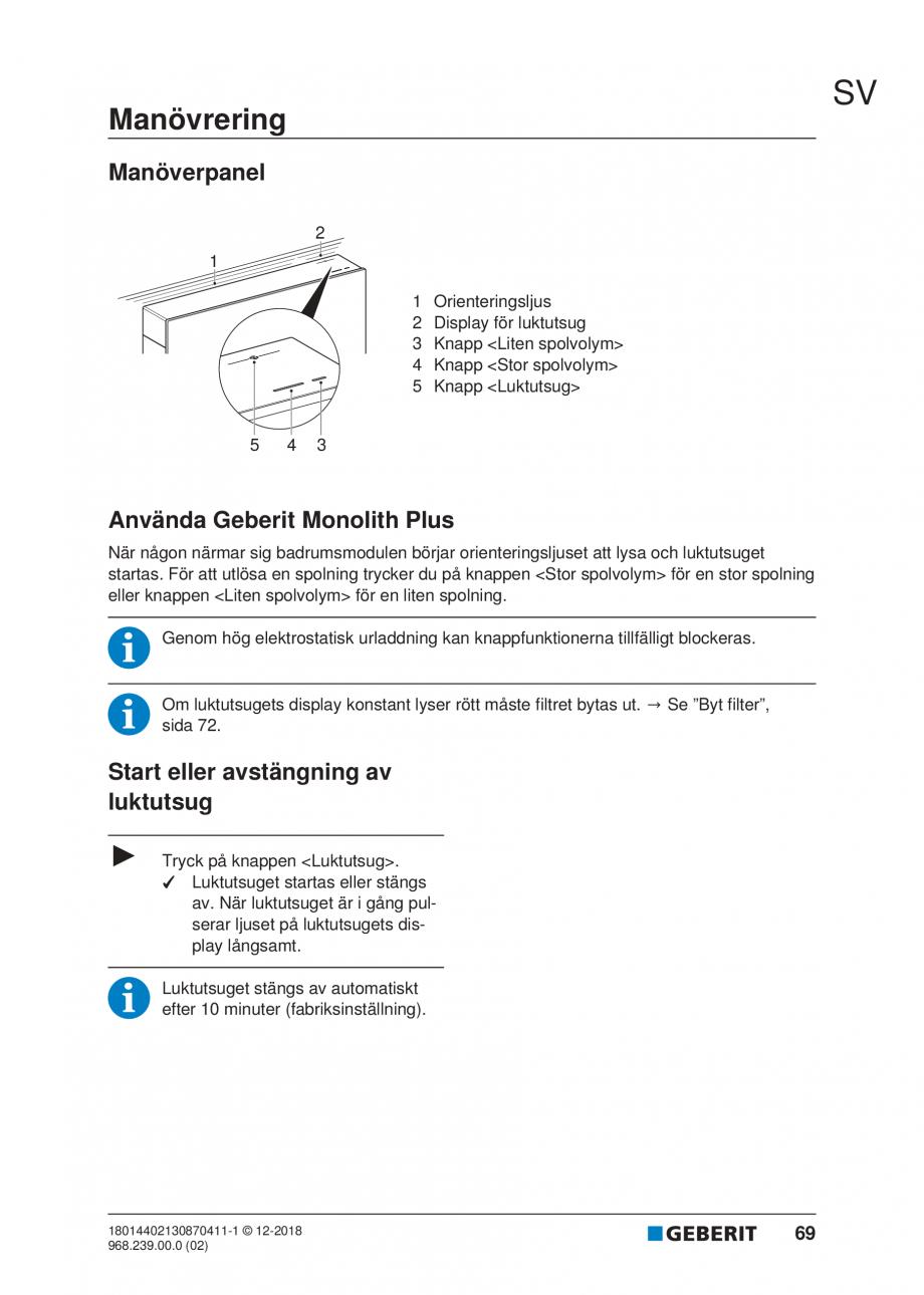 Pagina 65 - Manualul utilizatorului pentru modulul sanitar Monolith Plus GEBERIT Monolith...
