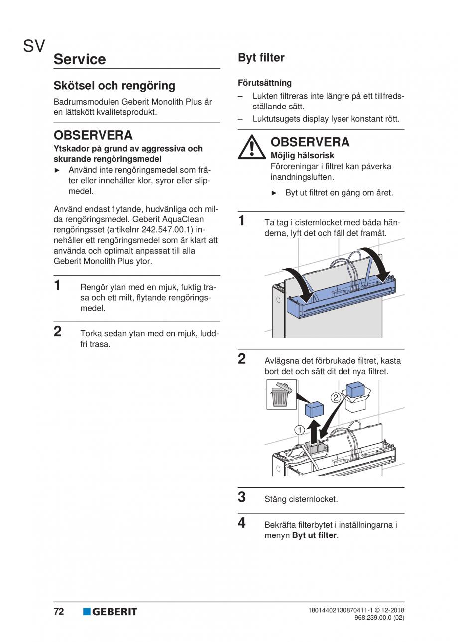 Pagina 68 - Manualul utilizatorului pentru modulul sanitar Monolith Plus GEBERIT Monolith...