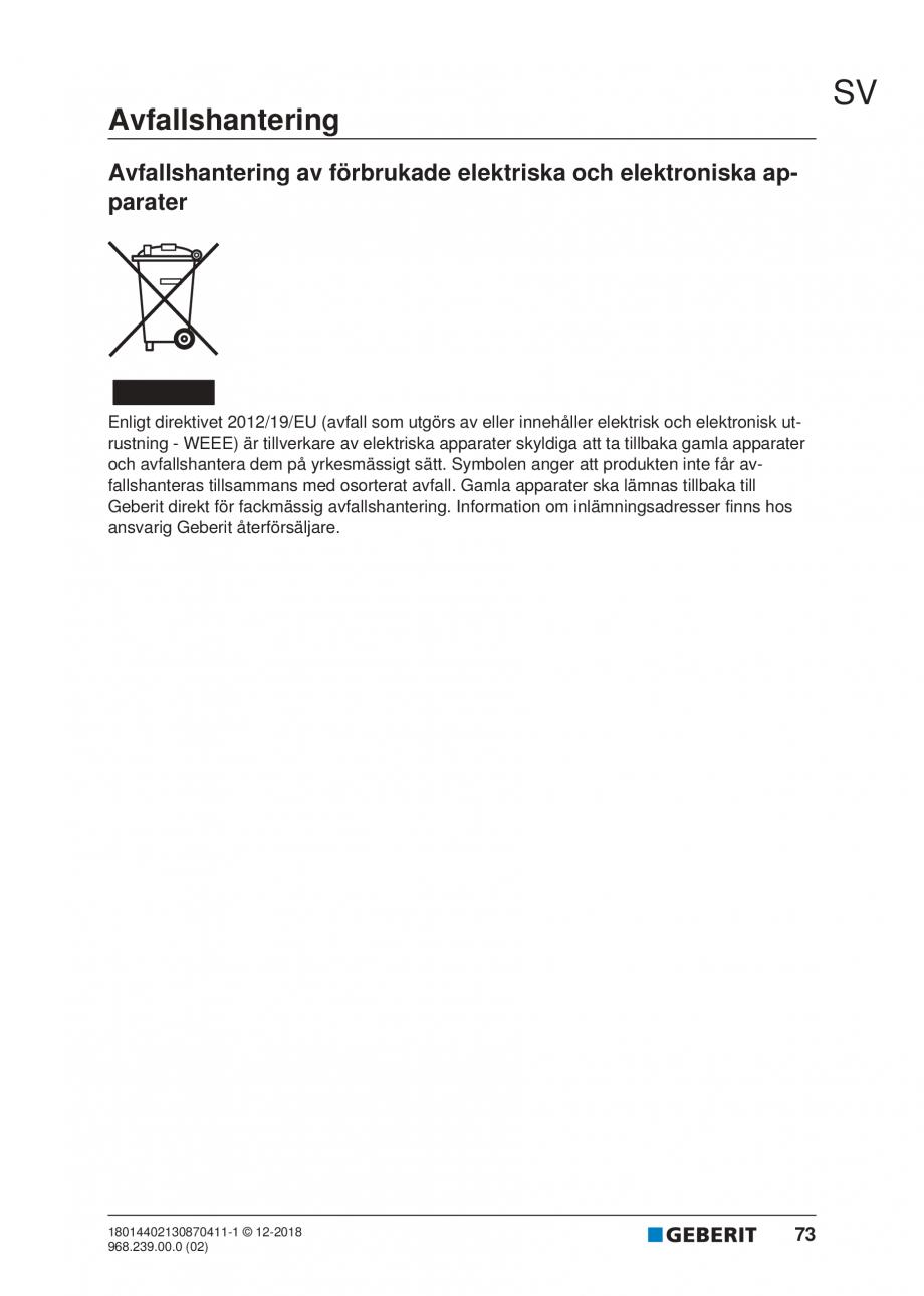 Pagina 69 - Manualul utilizatorului pentru modulul sanitar Monolith Plus GEBERIT Monolith...