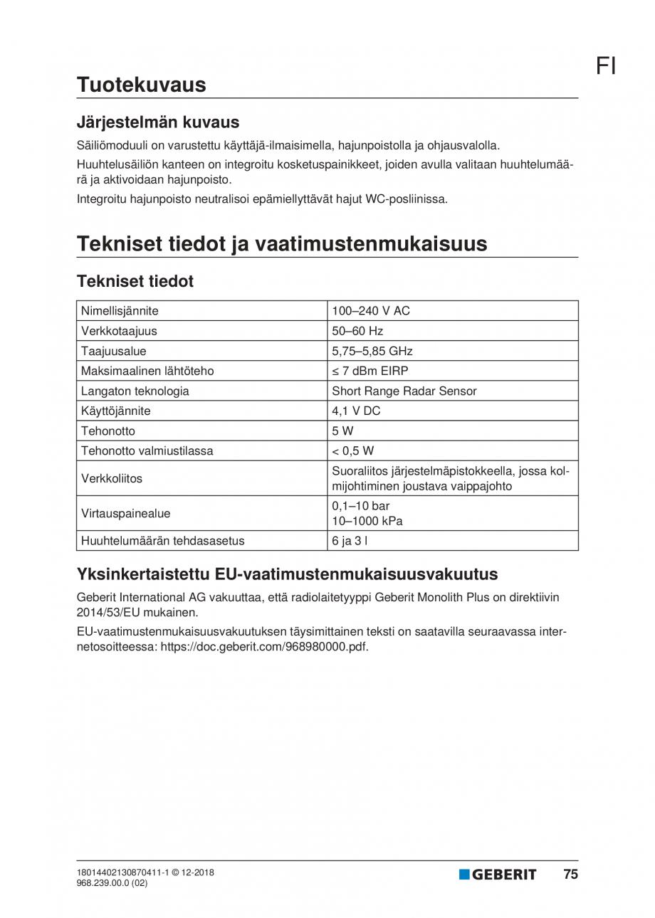 Pagina 71 - Manualul utilizatorului pentru modulul sanitar Monolith Plus GEBERIT Monolith...