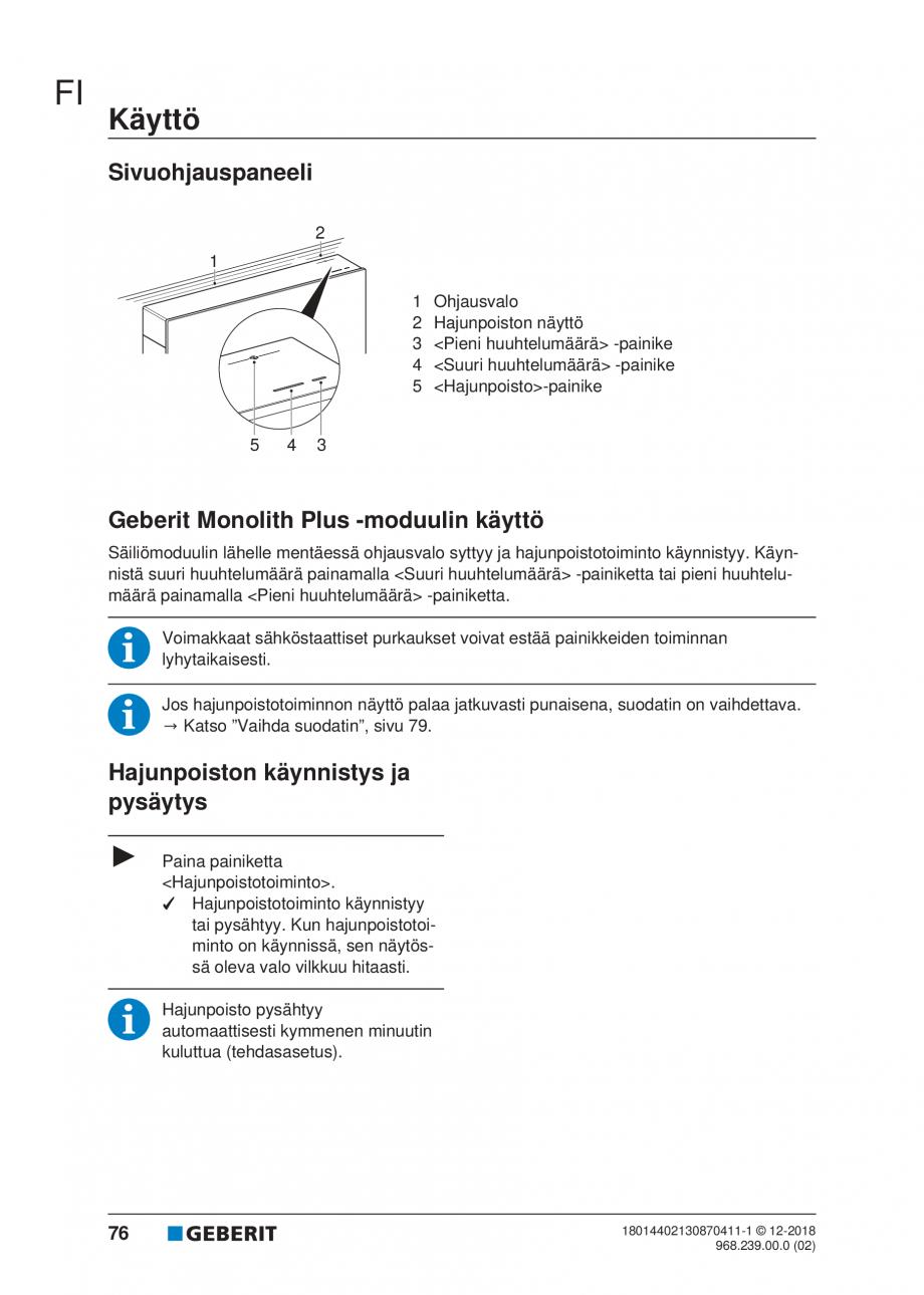 Pagina 72 - Manualul utilizatorului pentru modulul sanitar Monolith Plus GEBERIT Monolith...