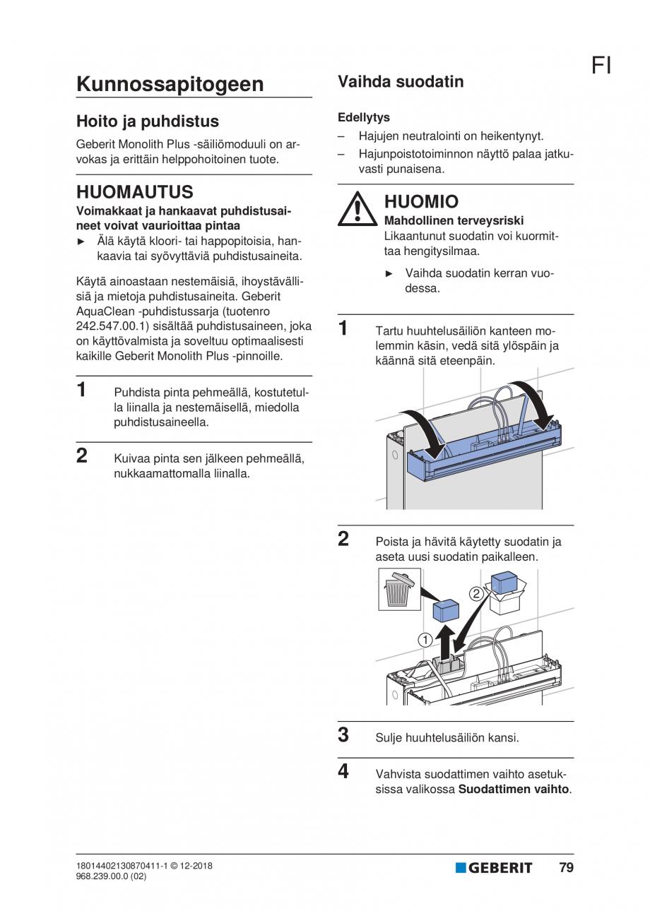 Pagina 75 - Manualul utilizatorului pentru modulul sanitar Monolith Plus GEBERIT Monolith...