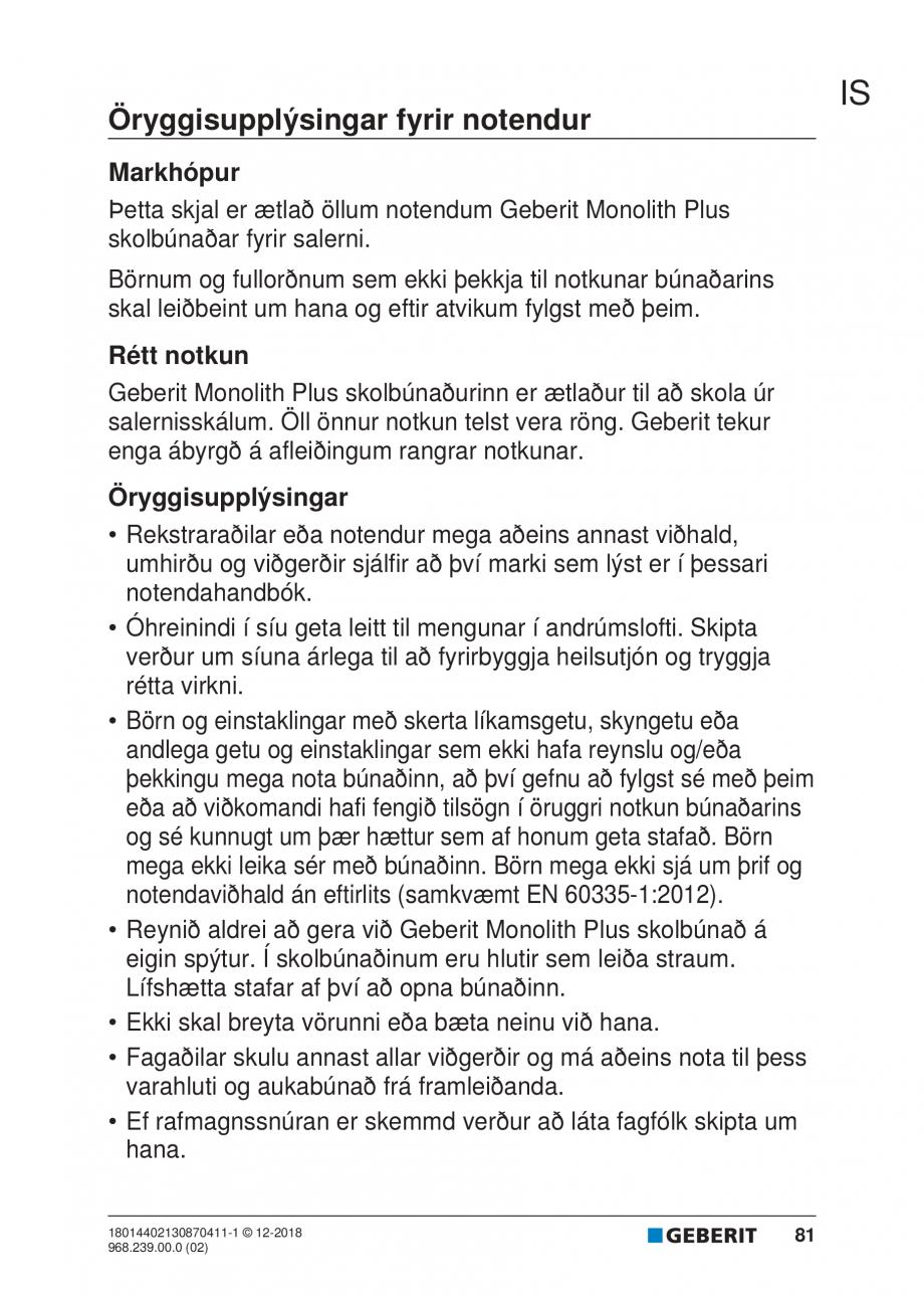 Pagina 77 - Manualul utilizatorului pentru modulul sanitar Monolith Plus GEBERIT Monolith...