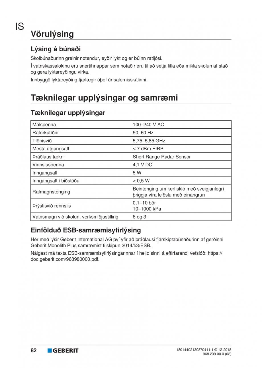 Pagina 78 - Manualul utilizatorului pentru modulul sanitar Monolith Plus GEBERIT Monolith...