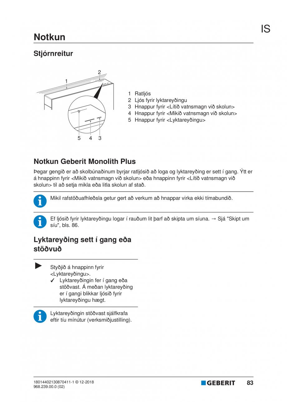 Pagina 79 - Manualul utilizatorului pentru modulul sanitar Monolith Plus GEBERIT Monolith...