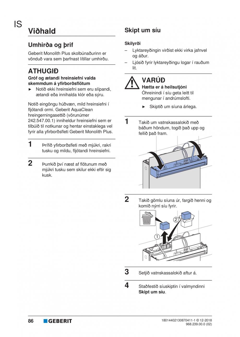 Pagina 82 - Manualul utilizatorului pentru modulul sanitar Monolith Plus GEBERIT Monolith...