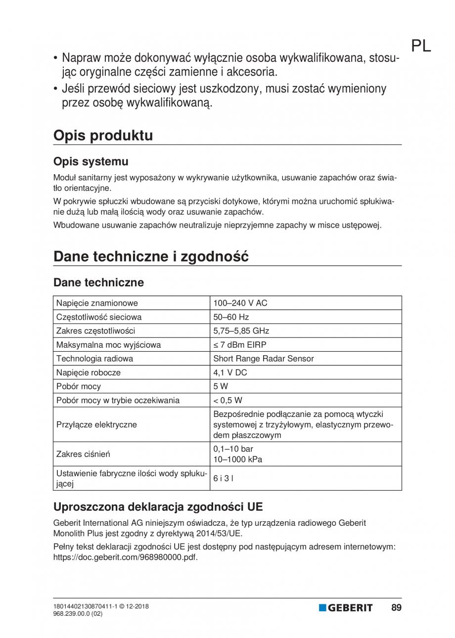 Pagina 85 - Manualul utilizatorului pentru modulul sanitar Monolith Plus GEBERIT Monolith...