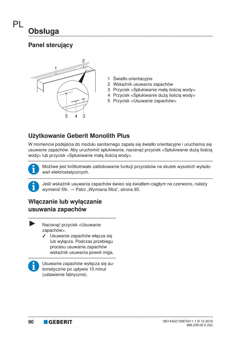 Pagina 86 - Manualul utilizatorului pentru modulul sanitar Monolith Plus GEBERIT Monolith...