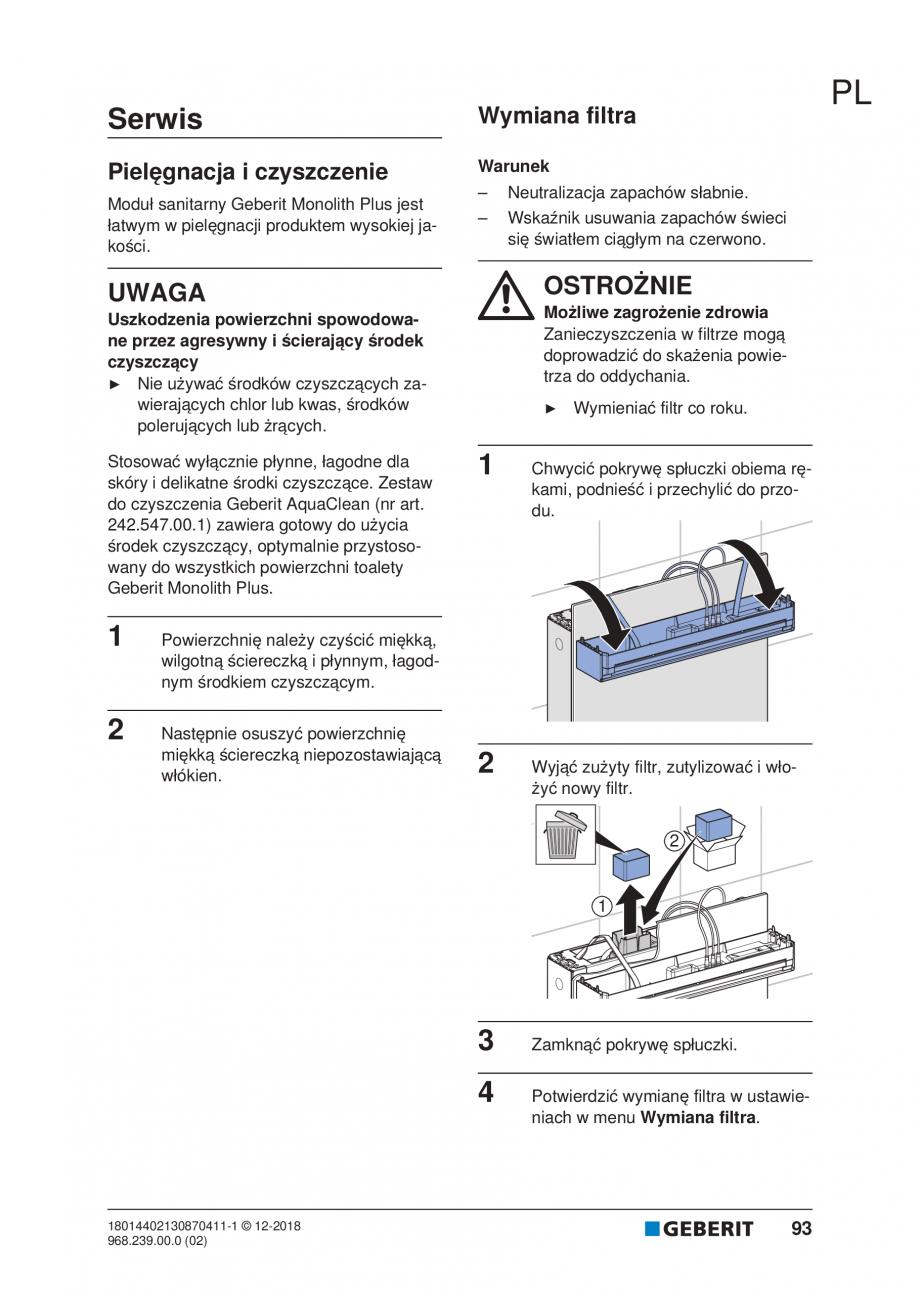 Pagina 89 - Manualul utilizatorului pentru modulul sanitar Monolith Plus GEBERIT Monolith...