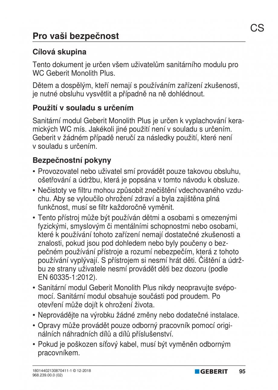 Pagina 91 - Manualul utilizatorului pentru modulul sanitar Monolith Plus GEBERIT Monolith...