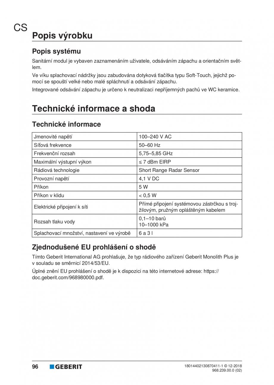 Pagina 92 - Manualul utilizatorului pentru modulul sanitar Monolith Plus GEBERIT Monolith...