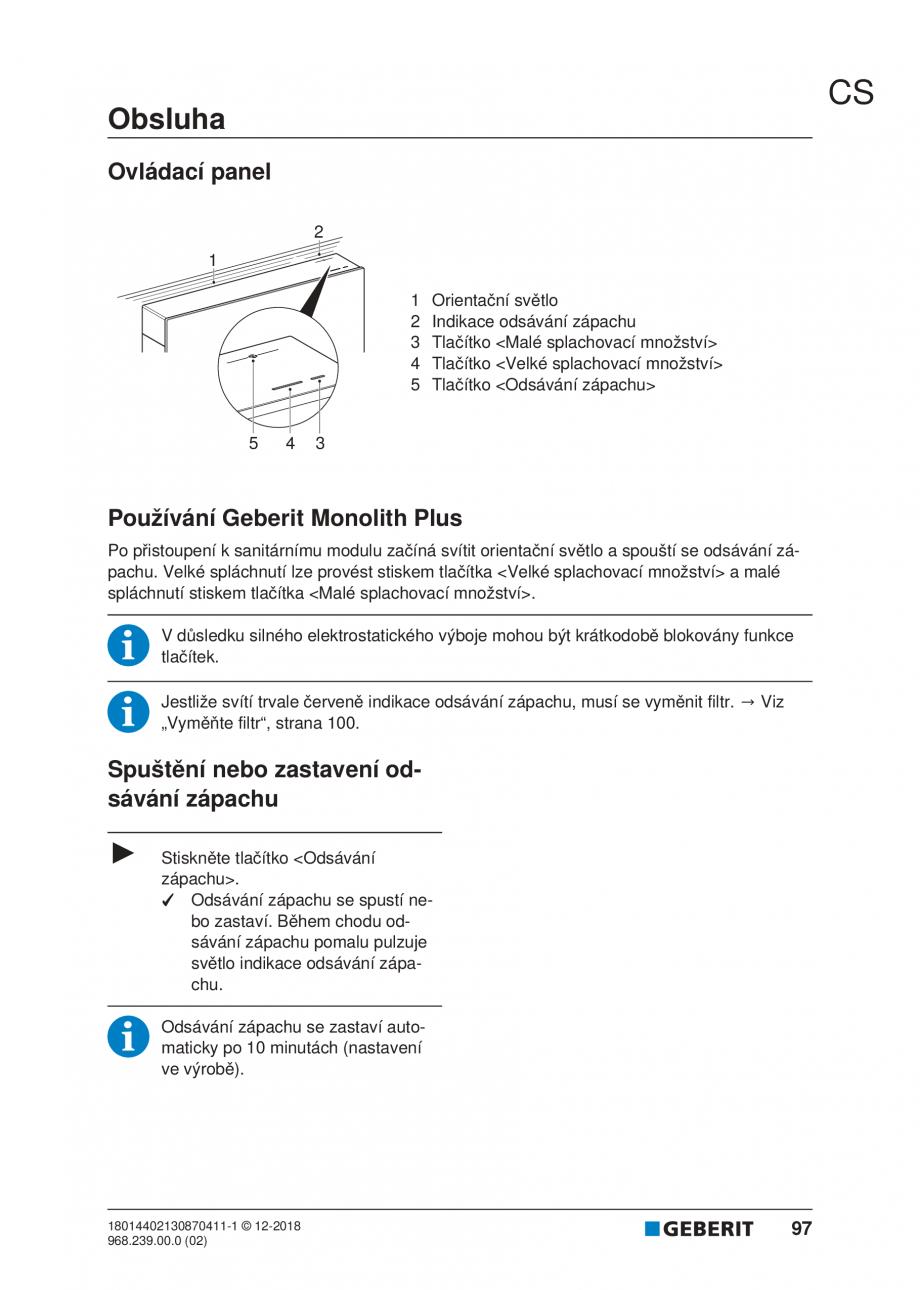 Pagina 93 - Manualul utilizatorului pentru modulul sanitar Monolith Plus GEBERIT Monolith...