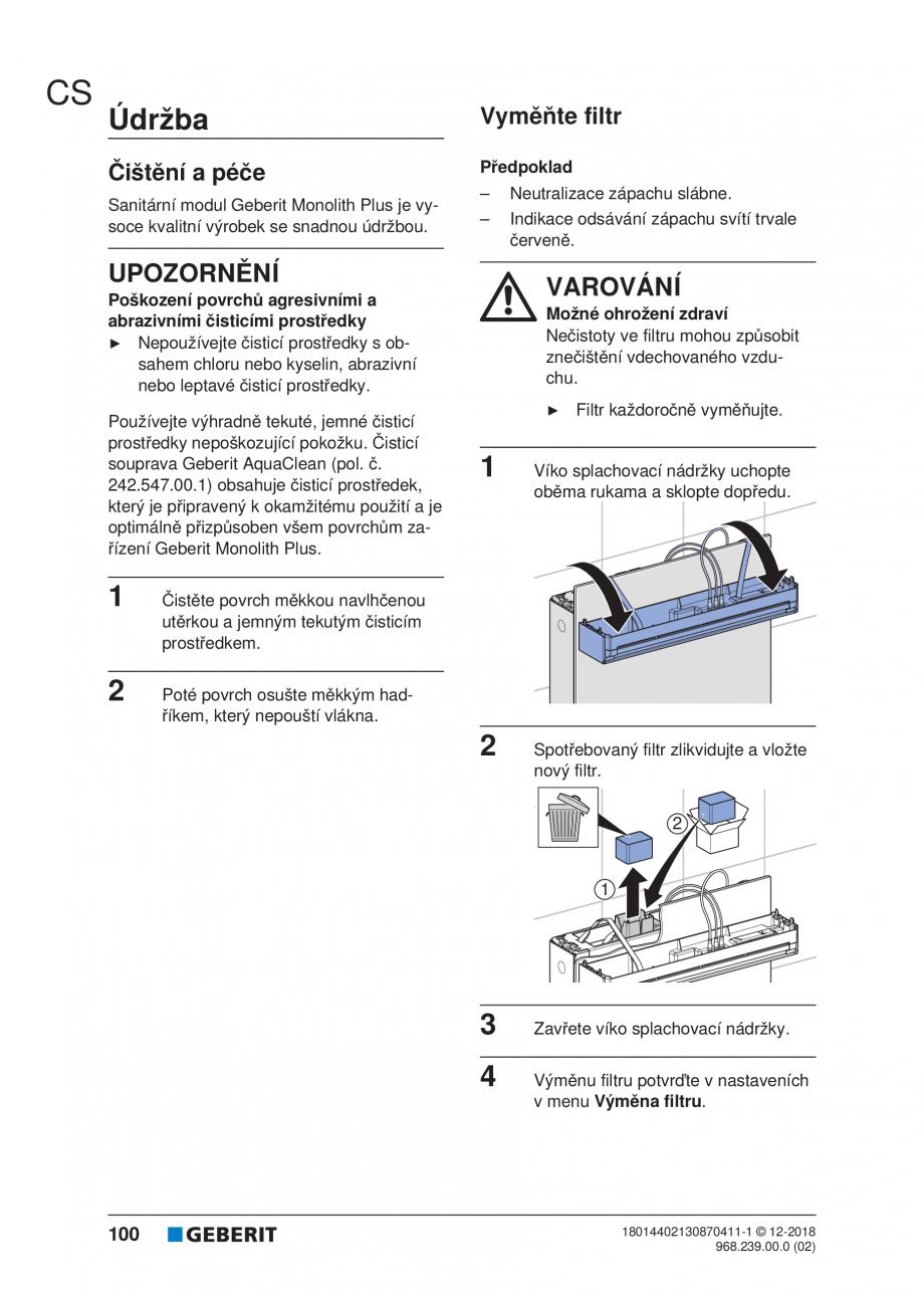 Pagina 96 - Manualul utilizatorului pentru modulul sanitar Monolith Plus GEBERIT Monolith...