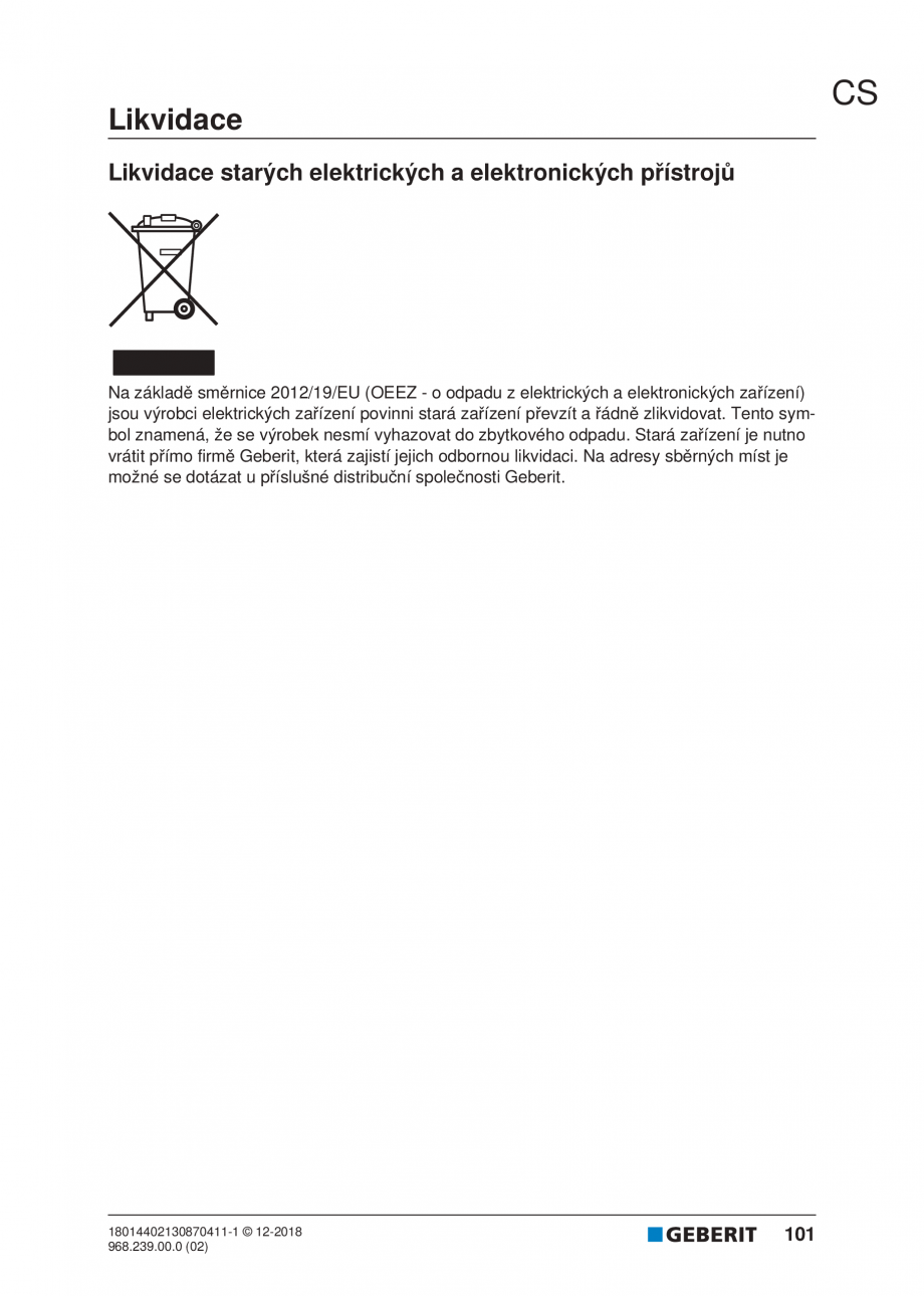 Pagina 97 - Manualul utilizatorului pentru modulul sanitar Monolith Plus GEBERIT Monolith...