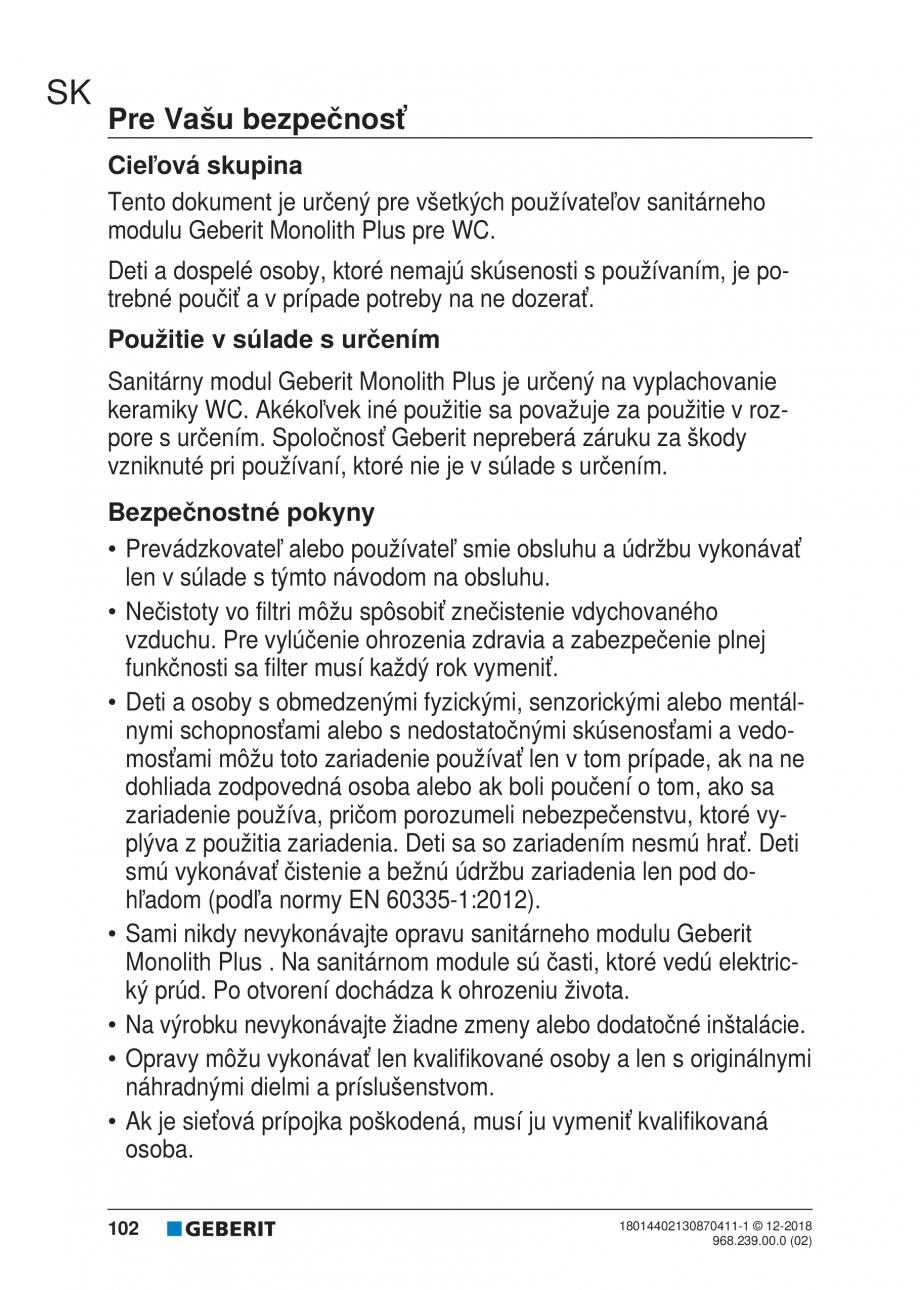 Pagina 98 - Manualul utilizatorului pentru modulul sanitar Monolith Plus GEBERIT Monolith...