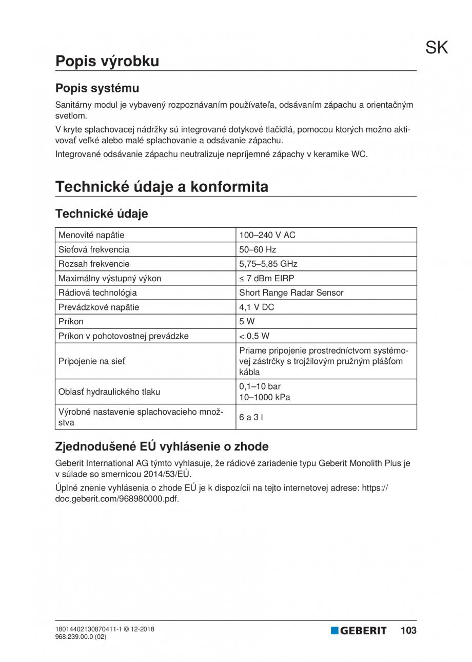 Pagina 99 - Manualul utilizatorului pentru modulul sanitar Monolith Plus GEBERIT Monolith...