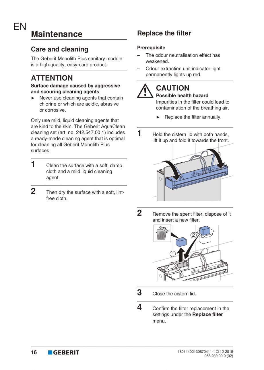 Pagina 103 - Manualul utilizatorului pentru modulul sanitar Monolith Plus GEBERIT Monolith...