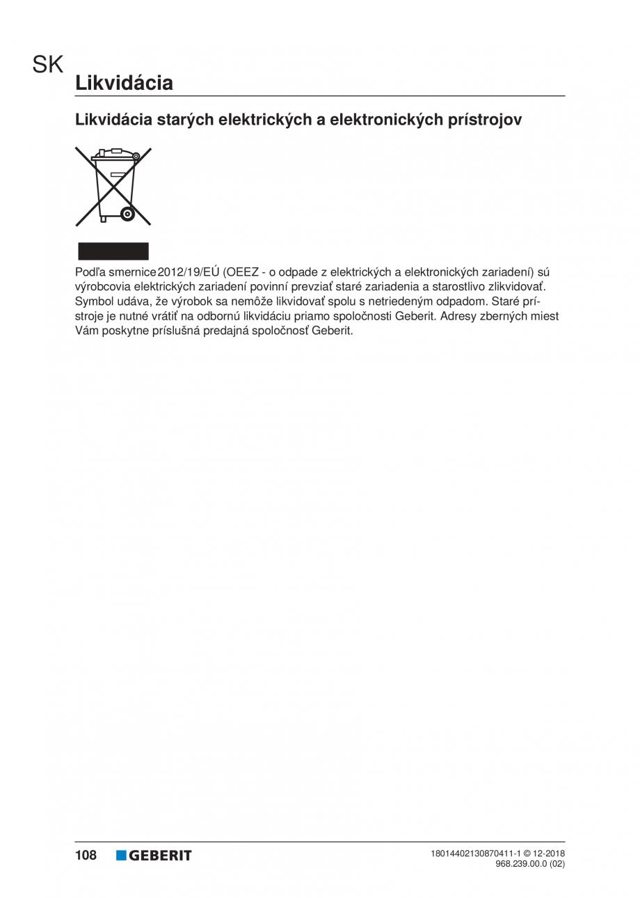 Pagina 106 - Manualul utilizatorului pentru modulul sanitar Monolith Plus GEBERIT Monolith...