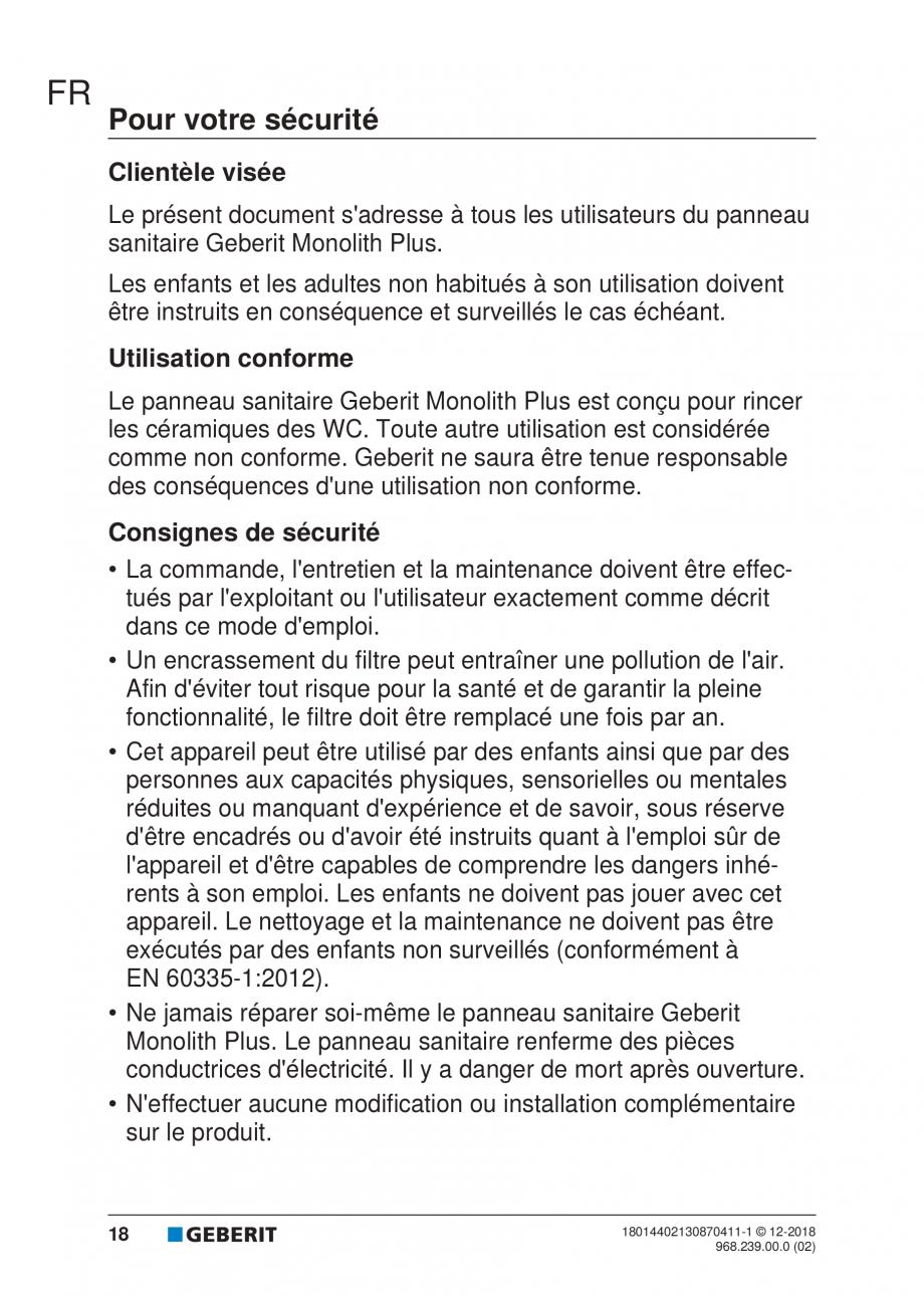 Pagina 107 - Manualul utilizatorului pentru modulul sanitar Monolith Plus GEBERIT Monolith...