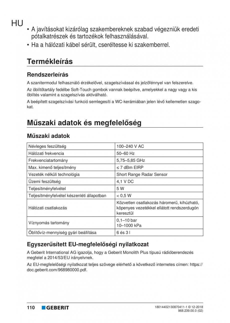 Pagina 110 - Manualul utilizatorului pentru modulul sanitar Monolith Plus GEBERIT Monolith...