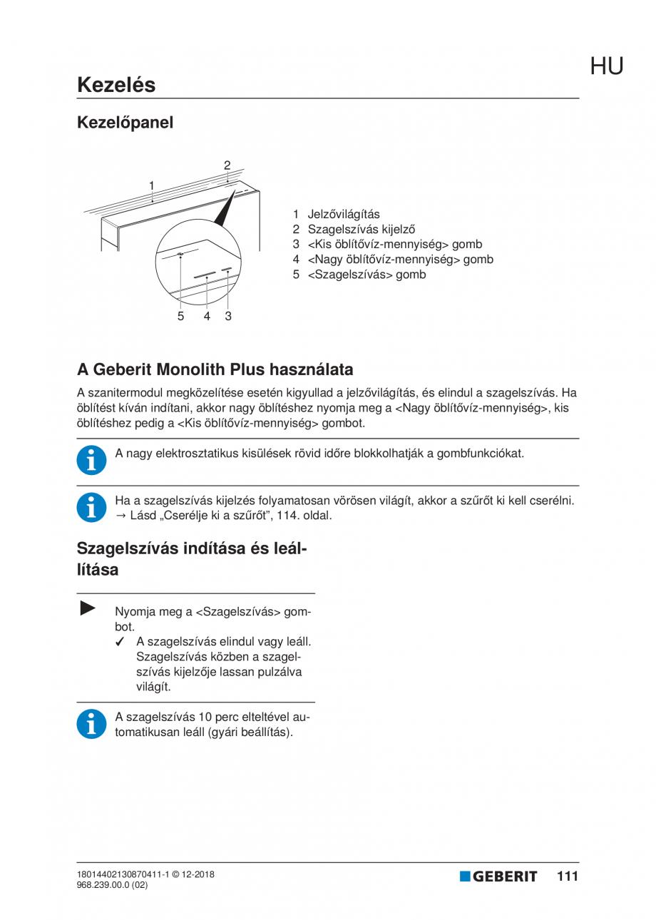 Pagina 111 - Manualul utilizatorului pentru modulul sanitar Monolith Plus GEBERIT Monolith...