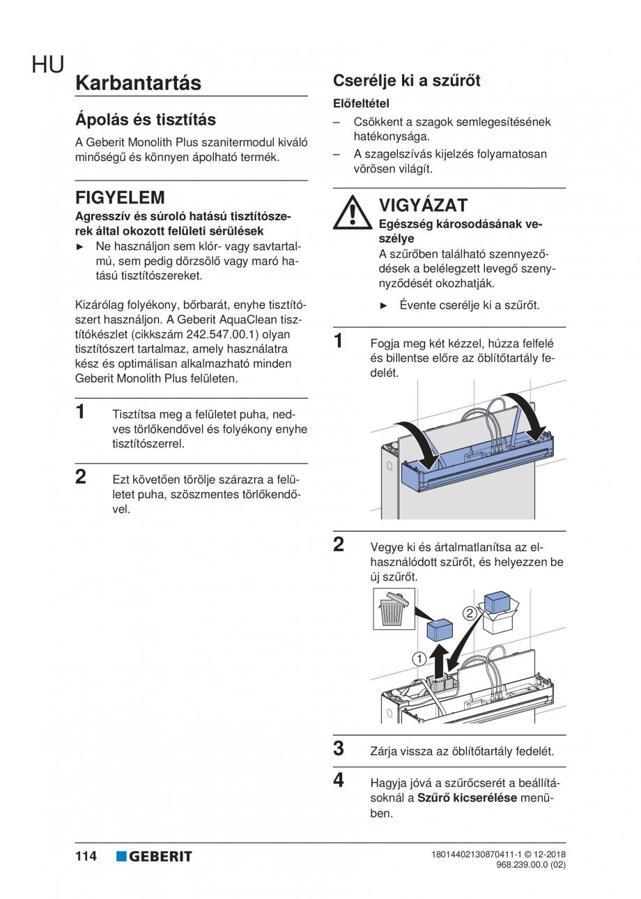 Pagina 114 - Manualul utilizatorului pentru modulul sanitar Monolith Plus GEBERIT Monolith...