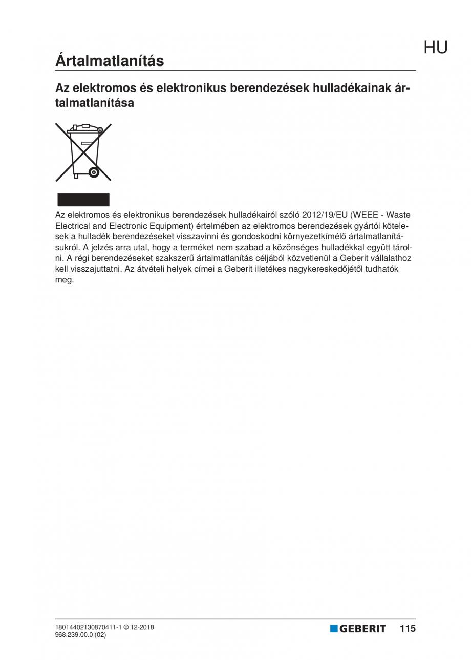 Pagina 115 - Manualul utilizatorului pentru modulul sanitar Monolith Plus GEBERIT Monolith...