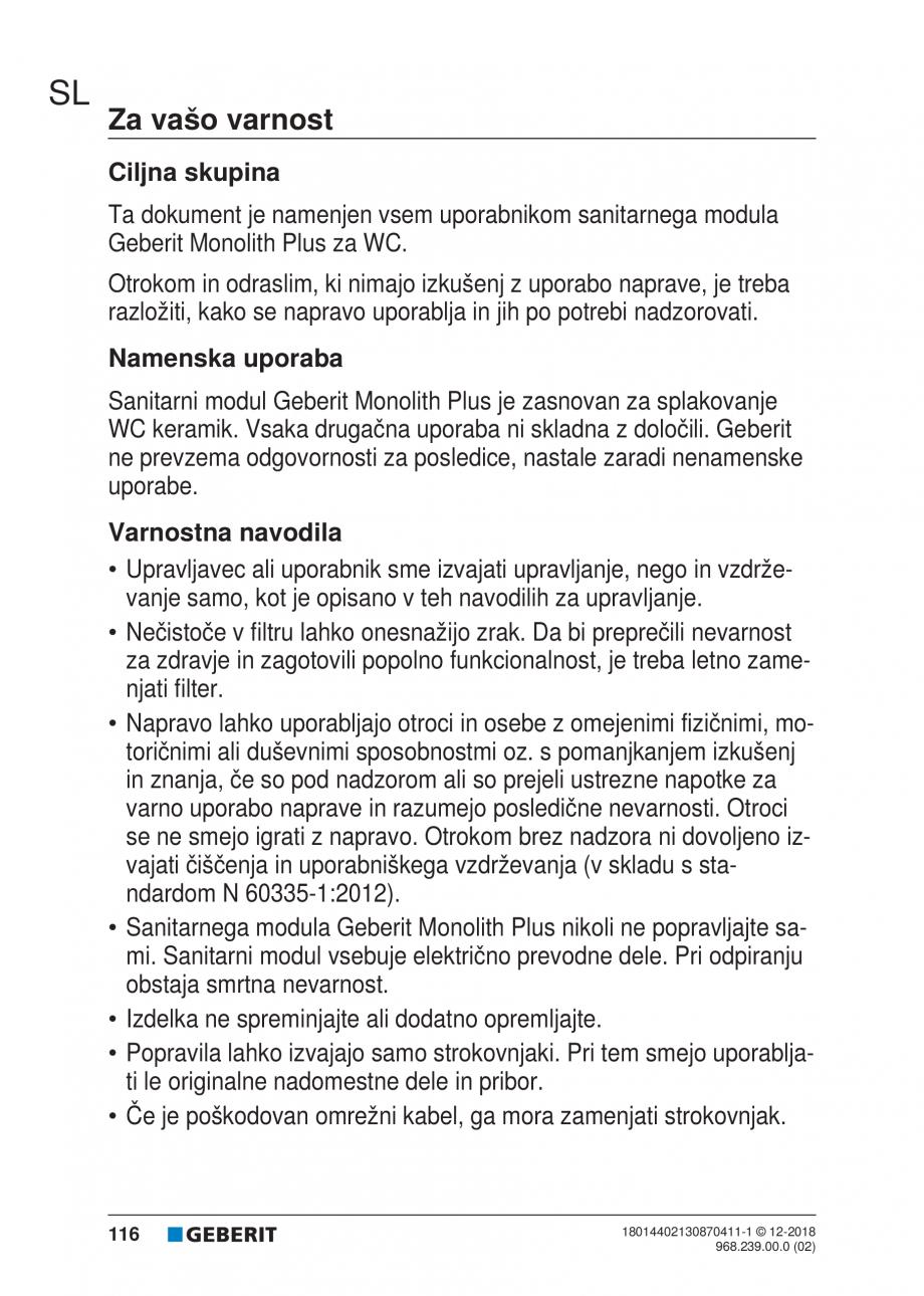 Pagina 116 - Manualul utilizatorului pentru modulul sanitar Monolith Plus GEBERIT Monolith...
