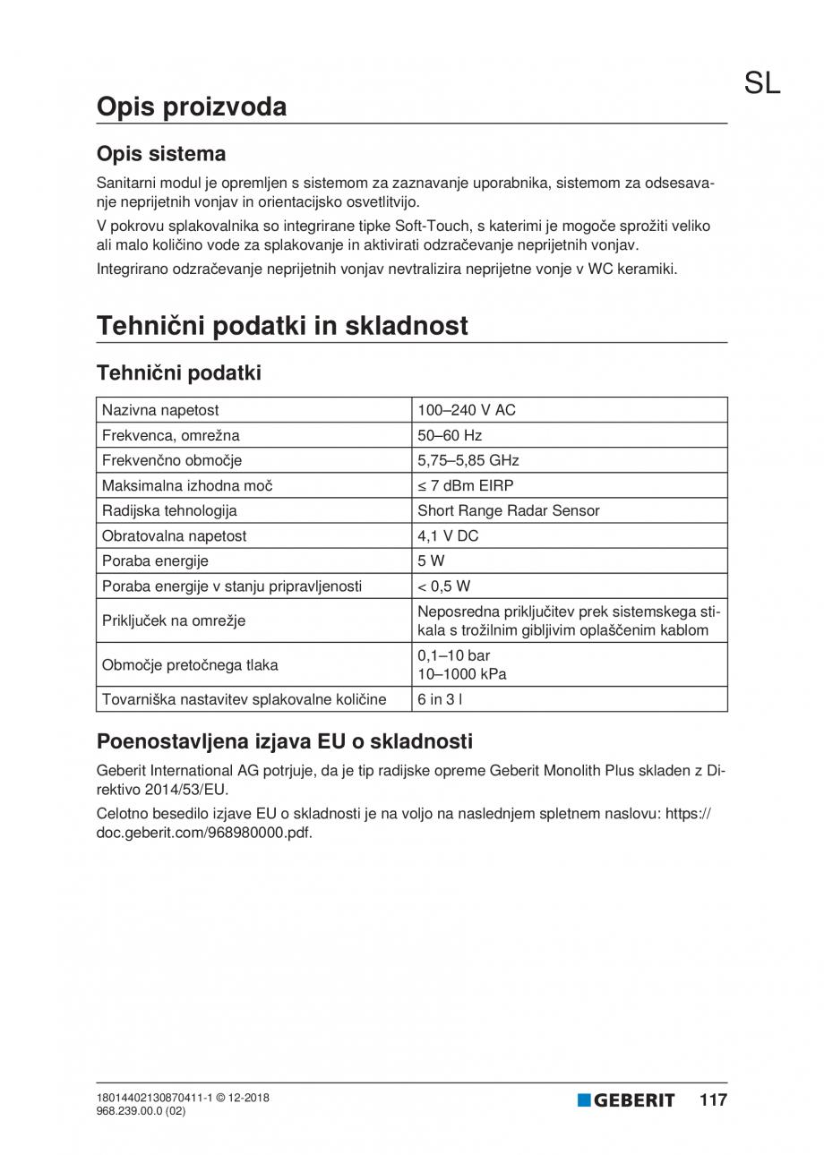 Pagina 117 - Manualul utilizatorului pentru modulul sanitar Monolith Plus GEBERIT Monolith...