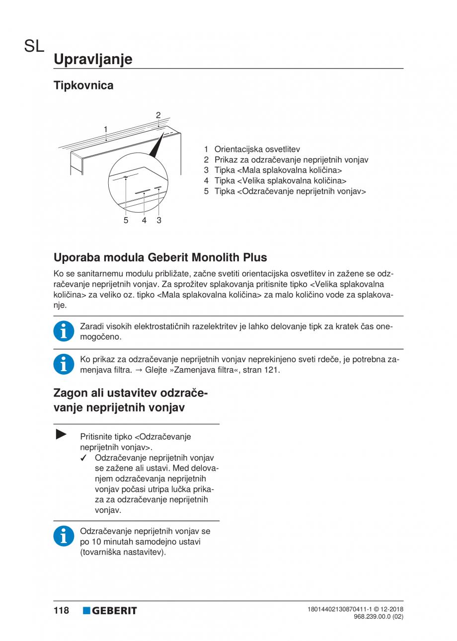 Pagina 118 - Manualul utilizatorului pentru modulul sanitar Monolith Plus GEBERIT Monolith...
