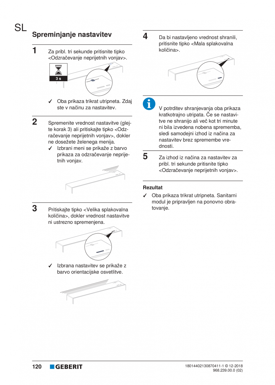 Pagina 120 - Manualul utilizatorului pentru modulul sanitar Monolith Plus GEBERIT Monolith...