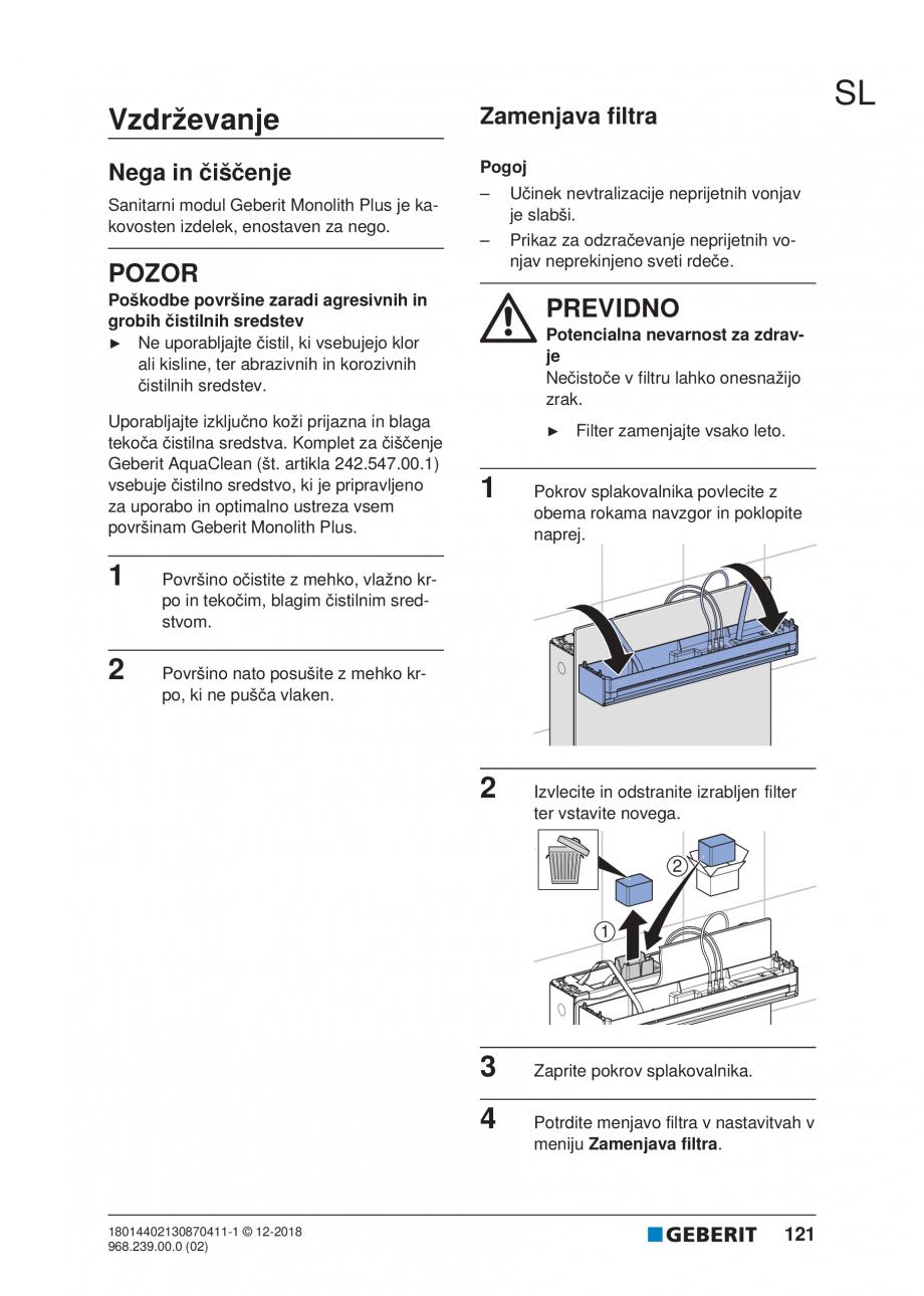 Pagina 121 - Manualul utilizatorului pentru modulul sanitar Monolith Plus GEBERIT Monolith...