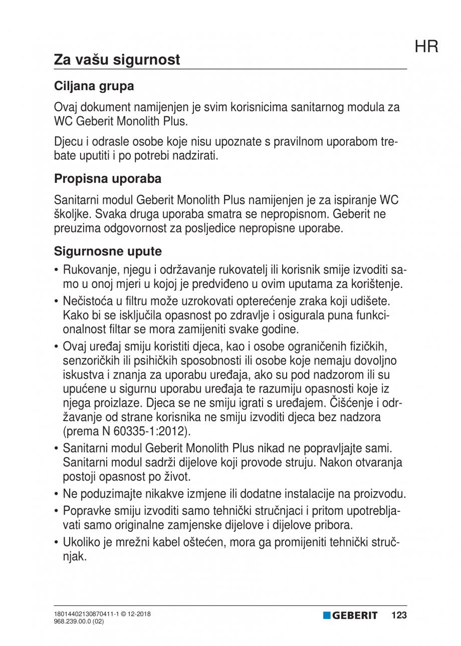 Pagina 123 - Manualul utilizatorului pentru modulul sanitar Monolith Plus GEBERIT Monolith...
