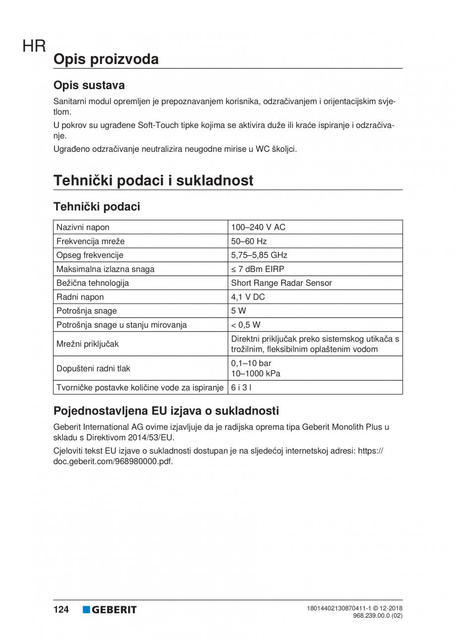 Pagina 124 - Manualul utilizatorului pentru modulul sanitar Monolith Plus GEBERIT Monolith...