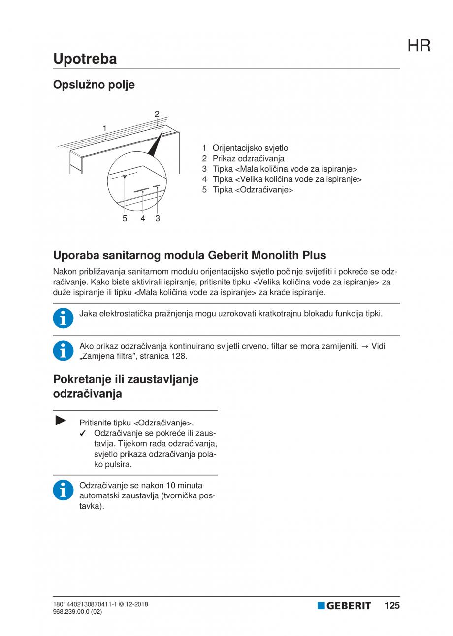 Pagina 125 - Manualul utilizatorului pentru modulul sanitar Monolith Plus GEBERIT Monolith...
