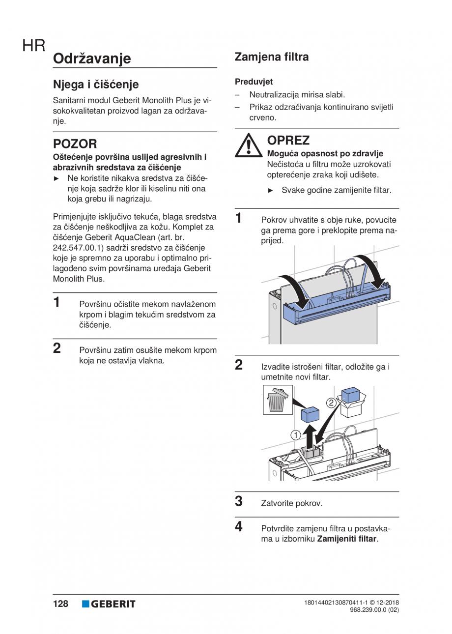 Pagina 128 - Manualul utilizatorului pentru modulul sanitar Monolith Plus GEBERIT Monolith...