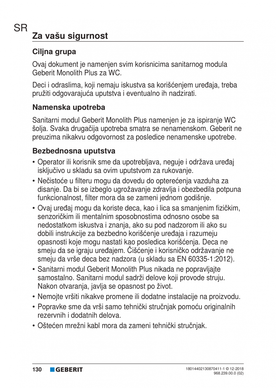 Pagina 130 - Manualul utilizatorului pentru modulul sanitar Monolith Plus GEBERIT Monolith...