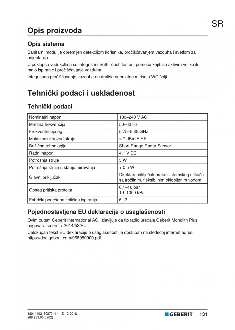 Pagina 131 - Manualul utilizatorului pentru modulul sanitar Monolith Plus GEBERIT Monolith...